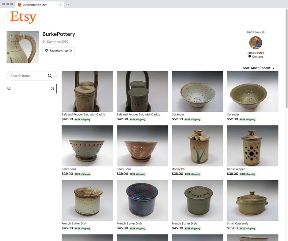 Burke Pottery @ Etsy